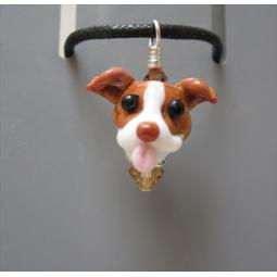 Red Nose Pit Bull Glass Pendant Necklace