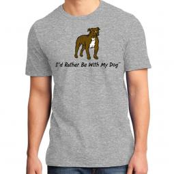 I'd Rather Be With My Dog Brindle Pit Bull Unisex T-Shirt - Grey