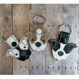 White with Tan Ears Pit Bull Vinyl Snap Keychain