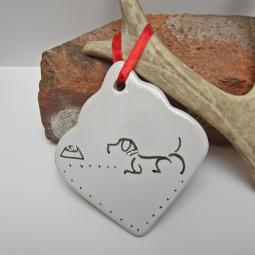 Wait For It Dog Ceramic Christmas Ornament