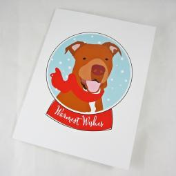 Pit Bull Red Nose Warmest Wishes Christmas Card