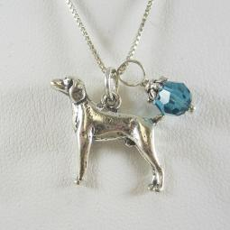 Weimaraner Large Charm Sterling Silver Necklace