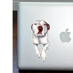 White Pit Bull Full Color Large Decal