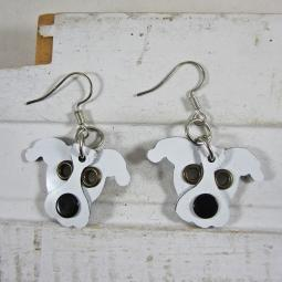 Pit Bull White Metal Rivet  Earrings