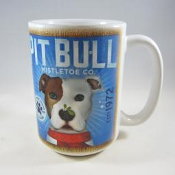 Mistletoe White with Brown Ear Pit Bull Coffee Company Mug