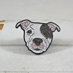 White with Grey Ear Pit Bull Enamel Lapel Pin