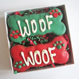 Woof Times Two Christmas Dog Treat Gift Box