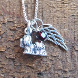 Yorkshire Terrier Mini Angel Wing Sterling Silver Necklace