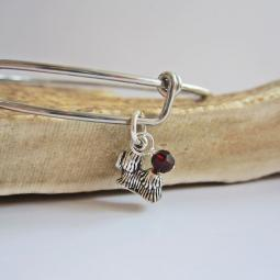"Yorkshire Terrier Mini Dangle Stackable Bangle Bracelet (2.5""-3"""