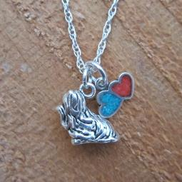 Yorkshire Terrier Large Double Heart Sterling Silver Necklace
