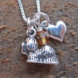 Yorkshire Terrier Mini Heart Sterling Silver Necklace