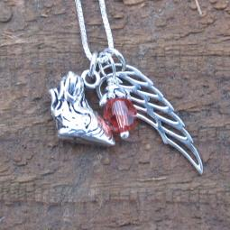 Yorkshire Terrier Large Angel Wing Sterling Silver Necklace