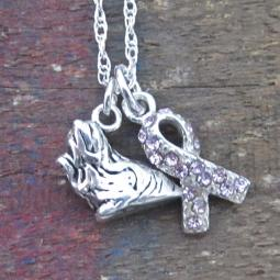 Yorkie Breast Cancer Awareness Ribbon Sterling Silver Necklace