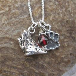 Yorkshire Terrier Paw Print Sterling Silver Necklace (large)