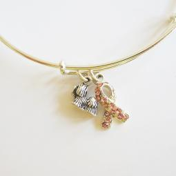 Yorkshire Terrier Breast Cancer Awareness Bangle Bracelet