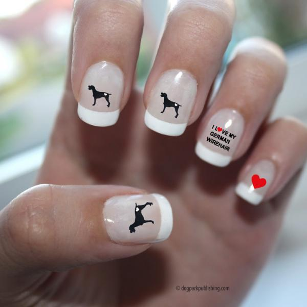 German Wirehaired Pointer Love Nail Art