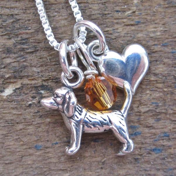 Beagle Mini Heart Sterling Silver Necklace