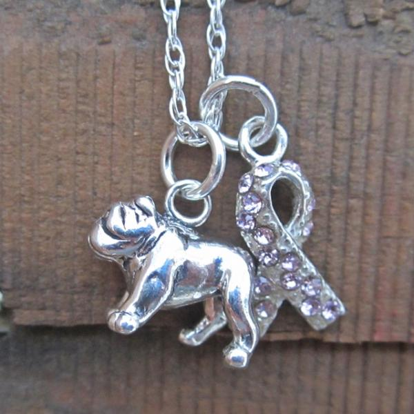 Bulldog Breast Cancer Awareness Ribbon Sterling Silver Necklace