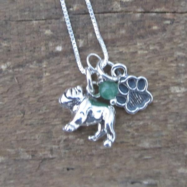 Bulldog Paw Print Sterling Silver Necklace (large)