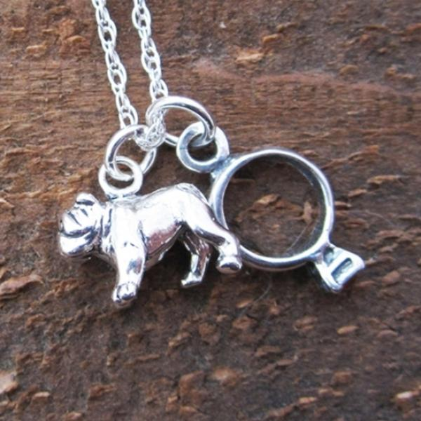 Bulldog Engagement Ring Large Sterling Silver Necklace