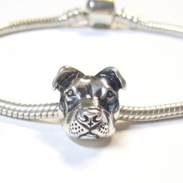 Snake Chain Bracelet with Peaceful Pit Bull Charm (Ster Slvr 3mm