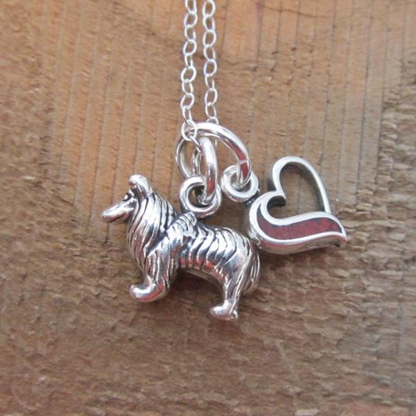 Collie In My Heart Mini Sterling Silver Necklace