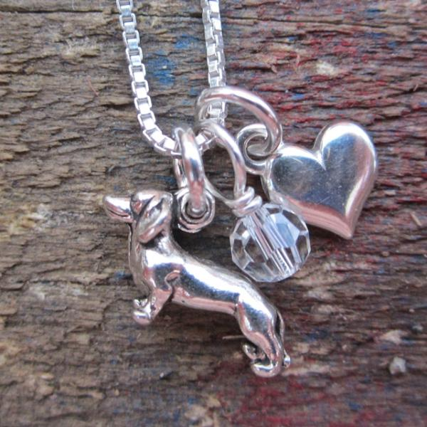 Dachshund Mini Heart Sterling Silver Necklace