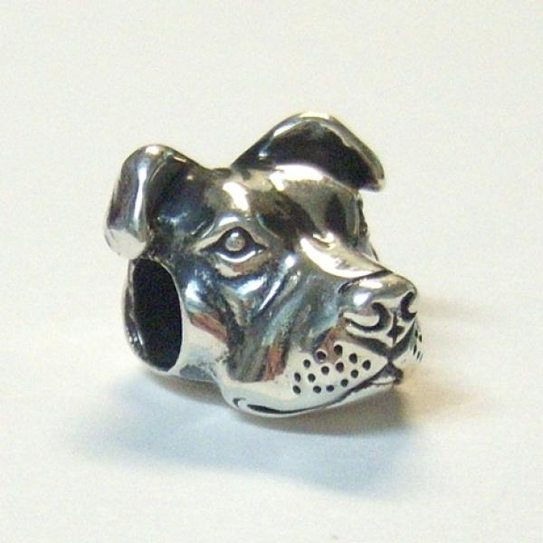 peaceful pit bull european style sterling silver charm
