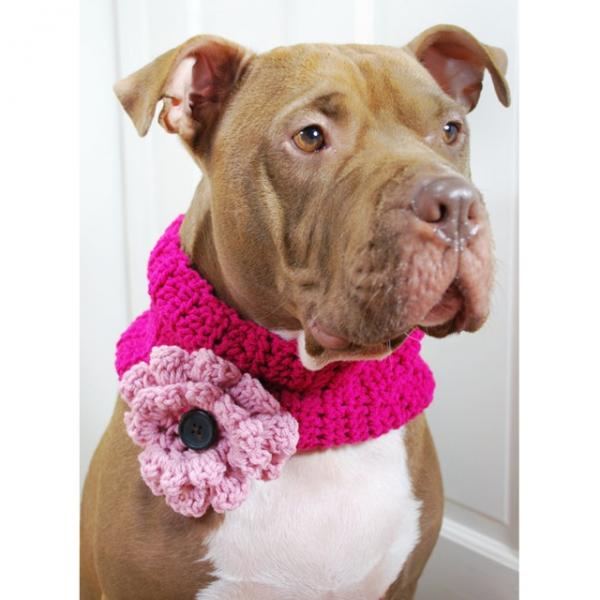Hot Pink with Pink Flower Crochet Cowl
