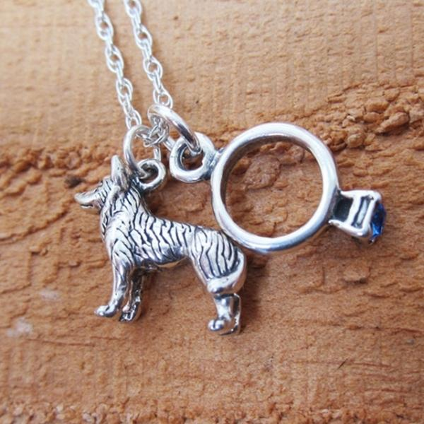 Husky Engagement Ring Large Sterling Silver Necklace
