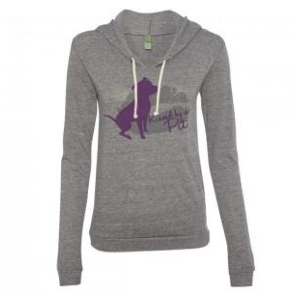 AS IS - Small Grey Kissed by a Pit Ladies Lightweight Eco Hoodie