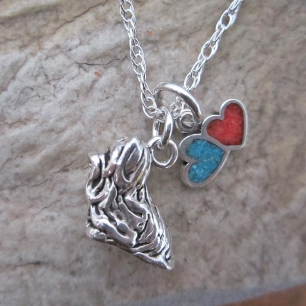 Maltese Large Double Heart Sterling Silver Necklace