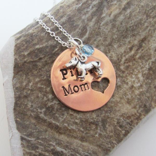 Pittie Mom Copper Necklace