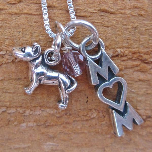 Pit Bull Mom Mini Sterling Silver Necklace