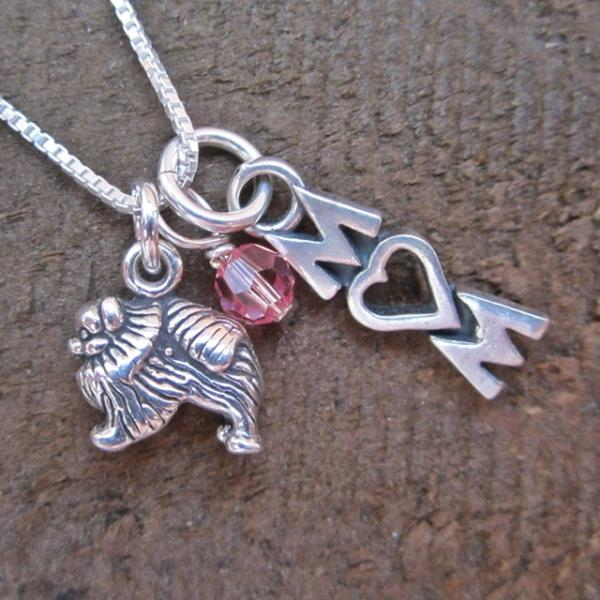 Pomeranian Mom Mini Sterling Silver Necklace