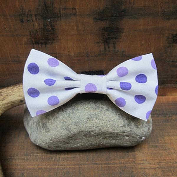 44390144626f Mini Purple and White Polka Dot Bow Tie (velcro closure), Dog Park ...