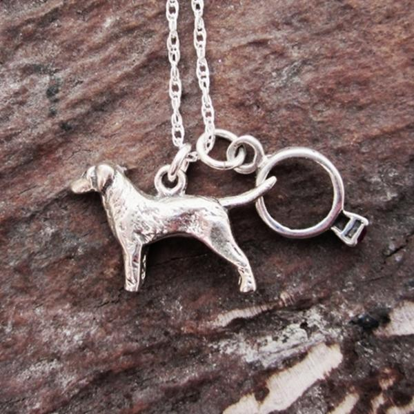 Labrador Engagement Ring Large Sterling Silver Necklace