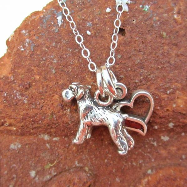 Schnauzer In My Heart Mini Sterling Silver Necklace