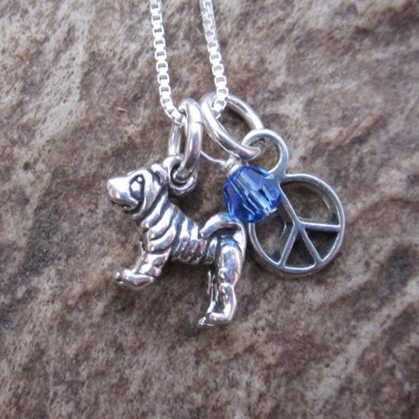 Shar Pei Mini Peace Sterling Silver Necklace