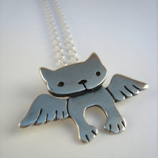 Angel Kitty Sterling Silver Necklace
