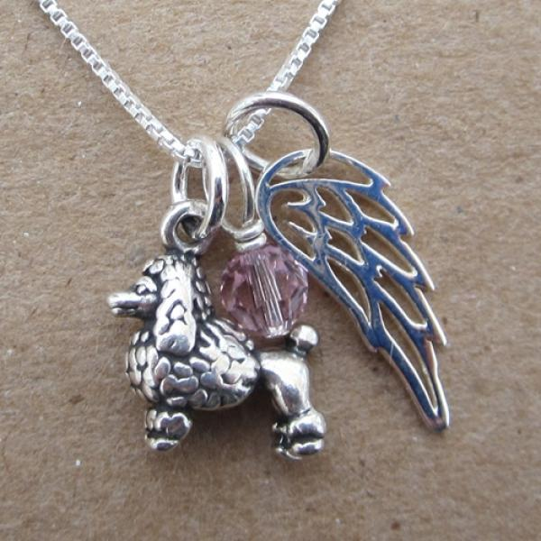 Poodle Mini Angel Wing Sterling Silver Necklace