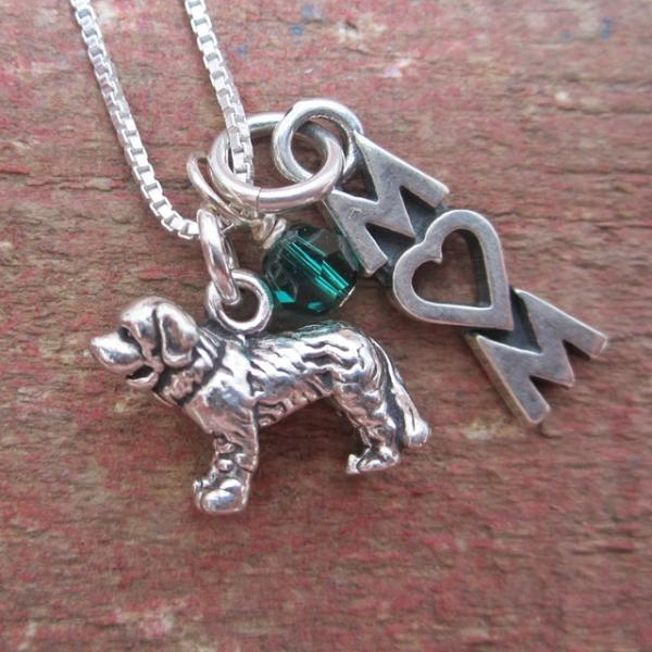 Saint Bernard Mom Mini Sterling Silver Necklace