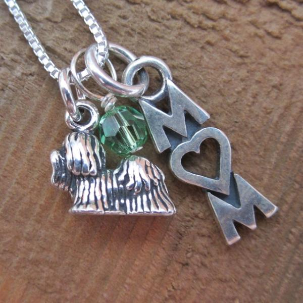Yorkshire Terrier Mom Mini Sterling Silver Necklace