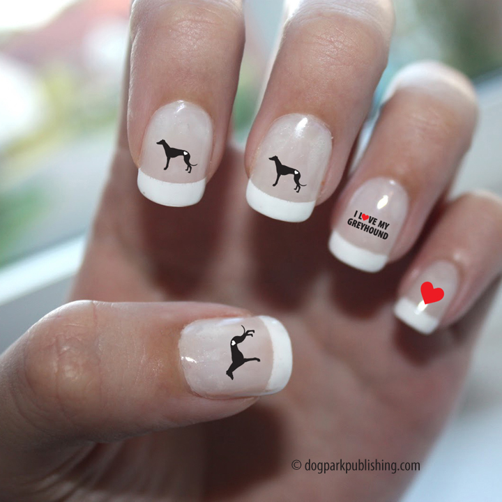 Greyhound Love Nail Art