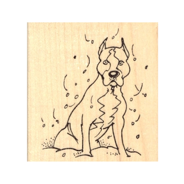 Pittie in Snow Rubber Stamp