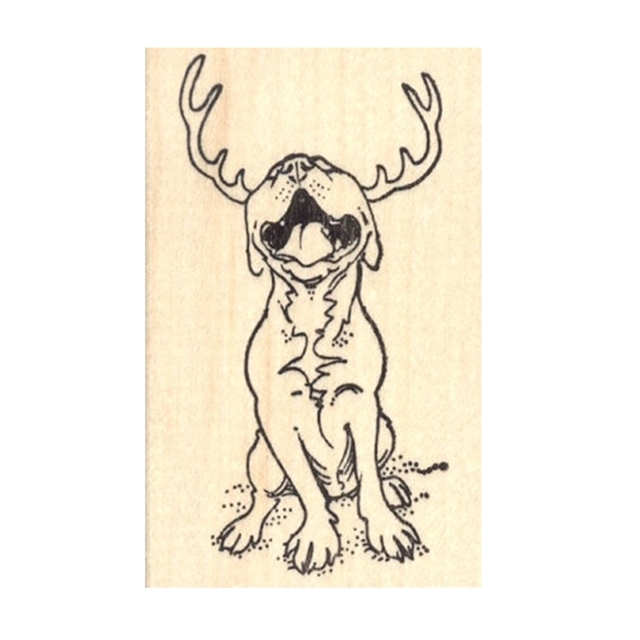 Reindeer Pit Bull Rubber Stamp
