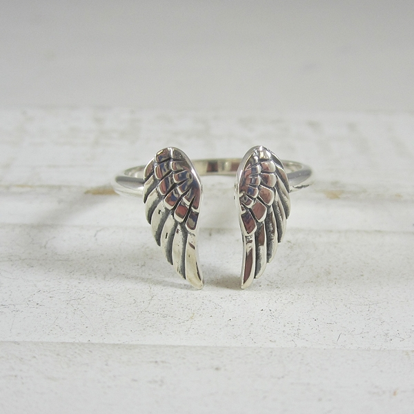Angel Wing Adjustable Sterling Silver Ring