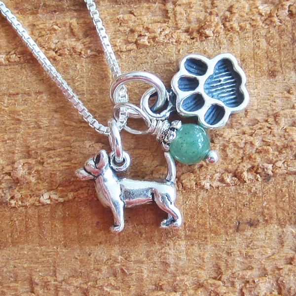Chihuahua Mini Paw Print Sterling Silver Necklace