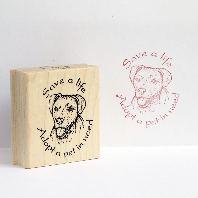 Save a life Adopt a Pet in Need Pit Bull Rubber Stamp