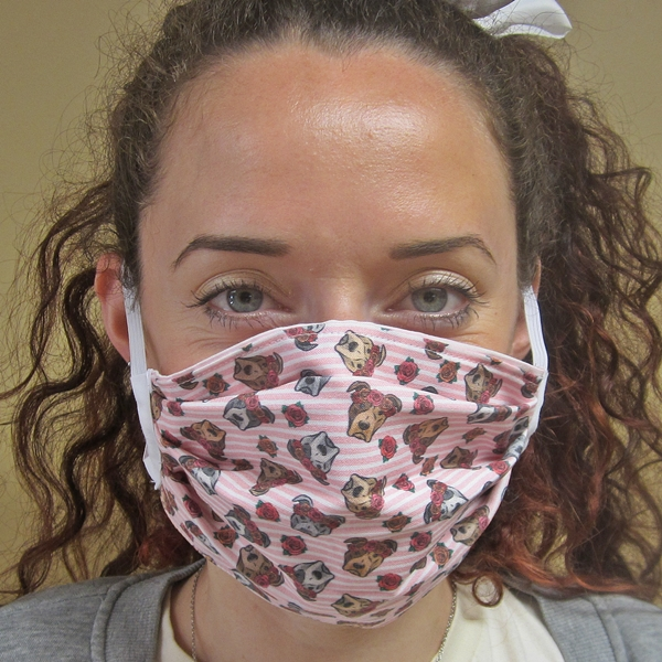 Floral Crown Pit Bull Pleated Face Mask